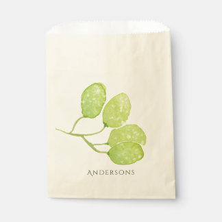 TROPICAL GREEN WATERCOLOUR FOLIAGE LEAF  MONOGRAM FAVOUR BAG