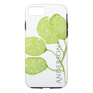 TROPICAL GREEN WATERCOLOUR FOLIAGE LEAF  MONOGRAM iPhone 8/7 CASE