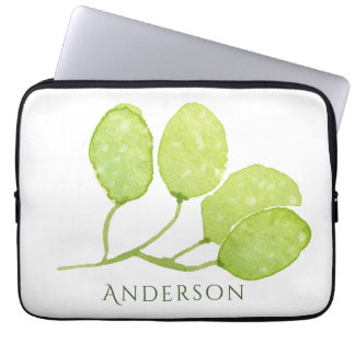 TROPICAL GREEN WATERCOLOUR FOLIAGE LEAF  MONOGRAM LAPTOP SLEEVE