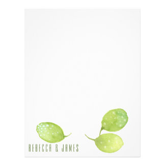 TROPICAL GREEN WATERCOLOUR FOLIAGE LEAF  MONOGRAM LETTERHEAD