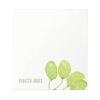 TROPICAL GREEN WATERCOLOUR FOLIAGE LEAF  MONOGRAM NOTEPADS