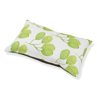 TROPICAL GREEN WATERCOLOUR FOLIAGE LEAF  MONOGRAM PET BED
