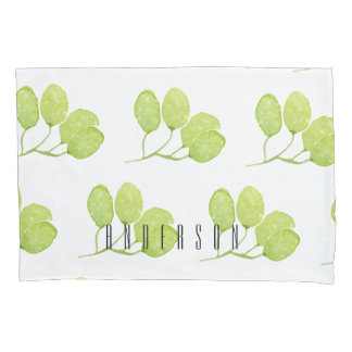 TROPICAL GREEN WATERCOLOUR FOLIAGE LEAF  MONOGRAM PILLOWCASE
