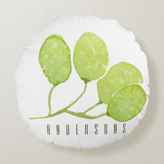 TROPICAL GREEN WATERCOLOUR FOLIAGE LEAF  MONOGRAM ROUND PILLOW