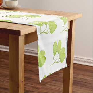 TROPICAL GREEN WATERCOLOUR FOLIAGE LEAF  MONOGRAM SHORT TABLE RUNNER