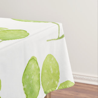 TROPICAL GREEN WATERCOLOUR FOLIAGE LEAF  MONOGRAM TABLECLOTH
