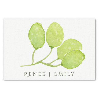 TROPICAL GREEN WATERCOLOUR FOLIAGE LEAF  MONOGRAM TISSUE PAPER
