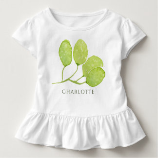 TROPICAL GREEN WATERCOLOUR FOLIAGE LEAF  MONOGRAM TODDLER T-SHIRT