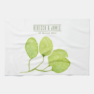 TROPICAL GREEN WATERCOLOUR FOLIAGE LEAF  MONOGRAM TOWEL