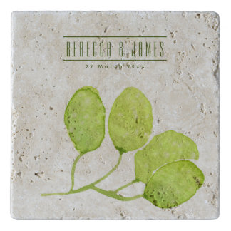 TROPICAL GREEN WATERCOLOUR FOLIAGE LEAF  MONOGRAM TRIVET