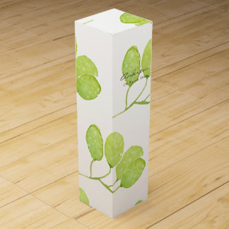 TROPICAL GREEN WATERCOLOUR FOLIAGE LEAF  MONOGRAM WINE GIFT BOX