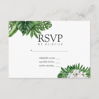 Tropical Greenery Geometric Wedding RSVP