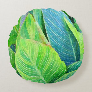 Tropical Greenery Watercolor Design Round Pillow