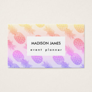 Tropical Grey Pineapples Pattern Rainbow Shades Business Card