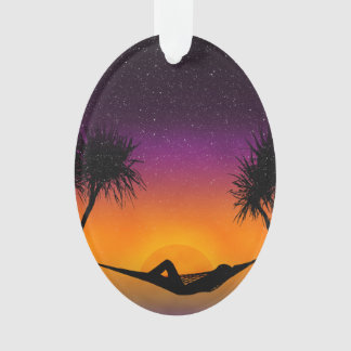 Tropical Hammock Sunset Silhouette Design Ornament
