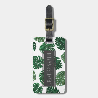 Tropical Hand Painted Swiss Cheese Plant Leaves Luggage Tag