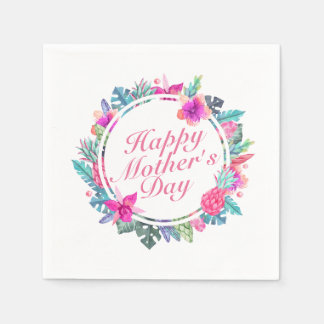Tropical Happy Mother's Day Floral Frame Napkin Disposable Napkin