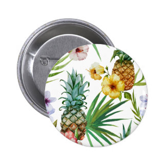 Tropical hawaii theme watercolor pineapple pattern 2 inch round button