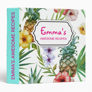 Tropical hawaii theme watercolor pineapple pattern 3 ring binders