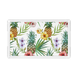 Tropical hawaii theme watercolor pineapple pattern acrylic tray