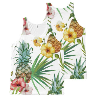 Tropical hawaii theme watercolor pineapple pattern All-Over-Print tank top
