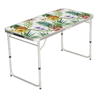 Tropical hawaii theme watercolor pineapple pattern beer pong table