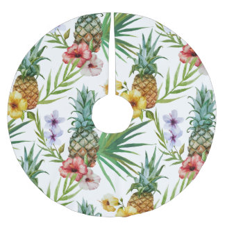 Tropical hawaii theme watercolor pineapple pattern brushed polyester tree skirt