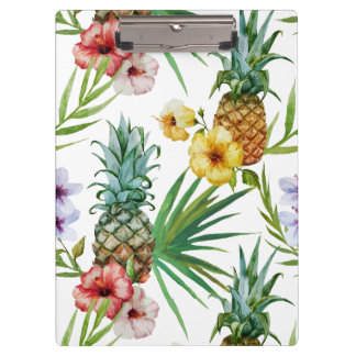 Tropical hawaii theme watercolor pineapple pattern clipboard