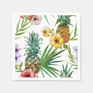 Tropical hawaii theme watercolor pineapple pattern disposable napkin