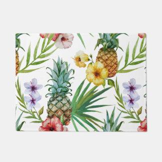 Tropical hawaii theme watercolor pineapple pattern doormat