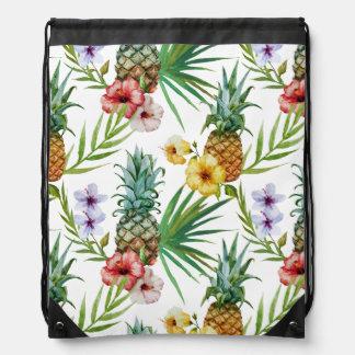 Tropical hawaii theme watercolor pineapple pattern drawstring bag