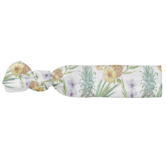 Tropical hawaii theme watercolor pineapple pattern hair tie