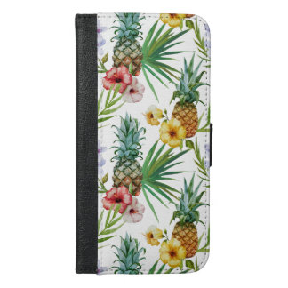 Tropical hawaii theme watercolor pineapple pattern iPhone 6/6s plus wallet case