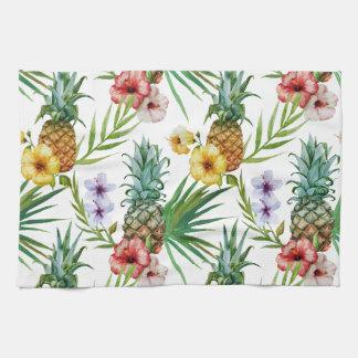 Tropical hawaii theme watercolor pineapple pattern kitchen towel