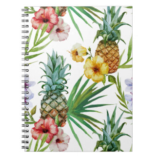 Tropical hawaii theme watercolor pineapple pattern note books