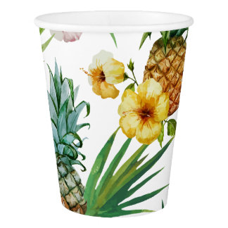 Tropical hawaii theme watercolor pineapple pattern paper cup