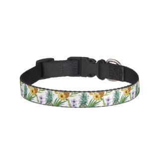Tropical hawaii theme watercolor pineapple pattern pet collar