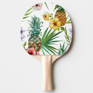 Tropical hawaii theme watercolor pineapple pattern ping pong paddle