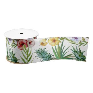 Tropical hawaii theme watercolor pineapple pattern satin ribbon