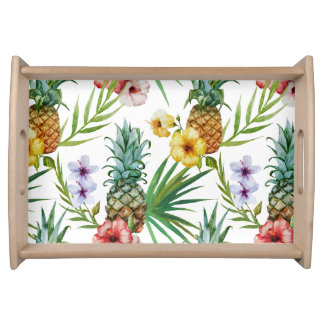Tropical hawaii theme watercolor pineapple pattern serving tray