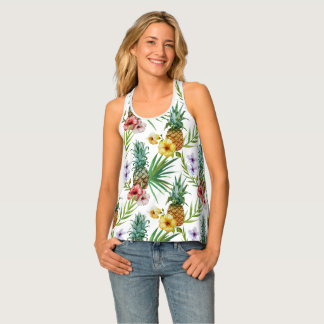 Tropical hawaii theme watercolor pineapple pattern tank top
