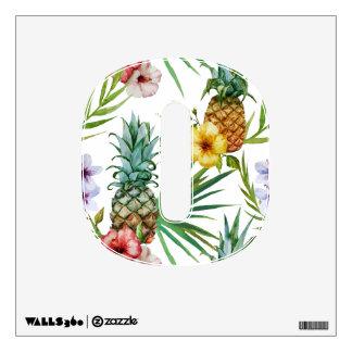 Tropical hawaii theme watercolor pineapple pattern wall sticker