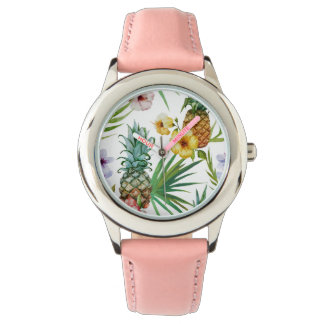 Tropical hawaii theme watercolor pineapple pattern watch