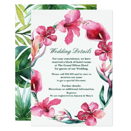 Tropical Hawaiian Flowers Elegant Wedding Details Card