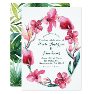 Tropical Hawaiian Flowers Wedding Invitations