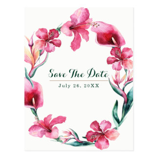 Tropical Hawaiian Flowers Wedding Save the Date Postcard