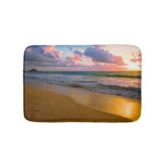 Tropical Hawaiian Golden Beach Sunset Bath Mat