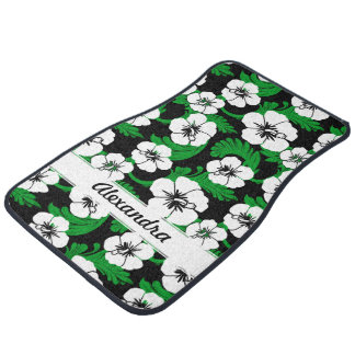 Tropical Hawaiian Hibiscus Floral Black Custom Set Floor Mat
