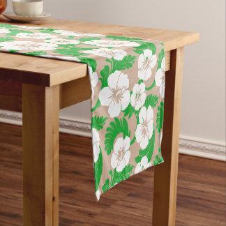 Tropical Hawaiian Hibiscus Floral Khaki Beige Short Table Runner