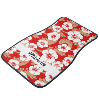 Tropical Hawaiian Hibiscus Floral Red Custom Set Car Mat